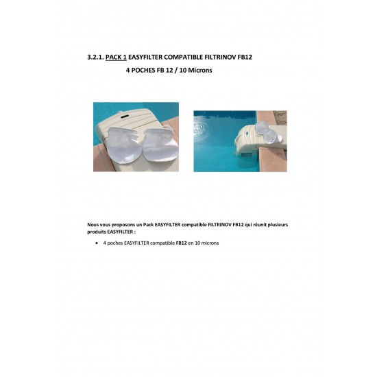 PACK 1 EASYFILTER COMPATIBLE FILTRINOV FB12 : 4 poches en 10 microns